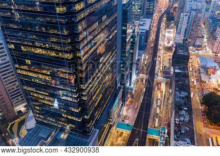 Kwun Tong, Hong 25 February 2021: Top view of Hong Kong city