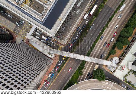 Wan Chai, Hong Kong 11 Jaunary 2021: Top down view of Hong Kong business district