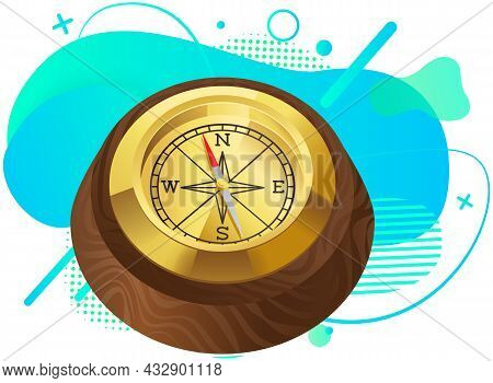 Antique Retro Style Metal And Wood Compass Device With Arrows For Determining Cardinal Points And Or