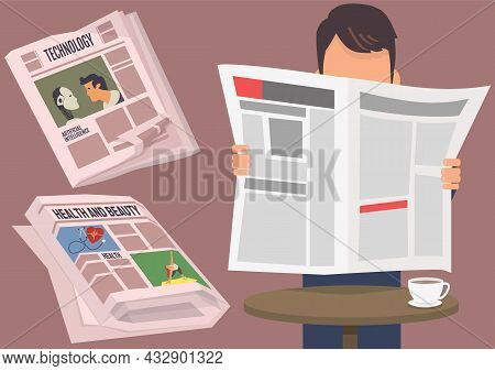 People Read Vintage Newspaper. Daily News Articles Newsprint Magazine Old Design. Printing Text In P