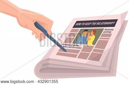 Woman Hand With Pen Points To Paper Publication With Fresh News. Publishing Article, Newspaper About