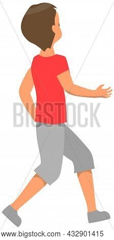 Young Guy In Casual Clothing Walking And Looking Back. Male Character Looks At Something Behind Him.