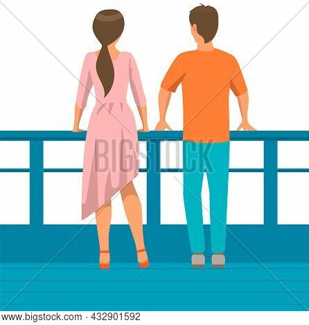 Young People In Casual Clothes Back View. Couple Man And Woman On Walk On Embankment. Characters Sta