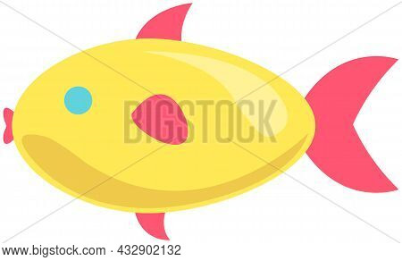 Yellow Fish With Fins On White Background. Cartoon Nautical Character Lives In Sea And Ocean. Sea Dw