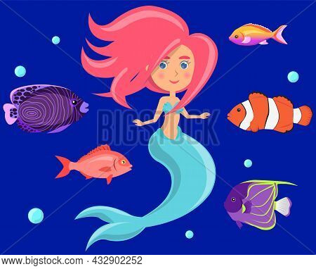 Mermaid With Group Of Colored Fish And Swims In Blue Water. Cartoon Nautical Characters Fingerling S