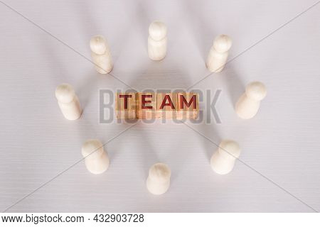 Word Team On Wooden Block, Relationship Of Collaboration And Leadership For Success, Group Of Commun