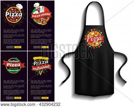 Pizza Restaurant Menus Near Pizzeria Logo Apron. Fastfood Snack And Bakery Cooking. Cooking Pizza In