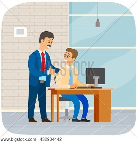 Boss Instructing Subordinate At Workplace. Male Office Workers Talking To Each Other At Meeting In O