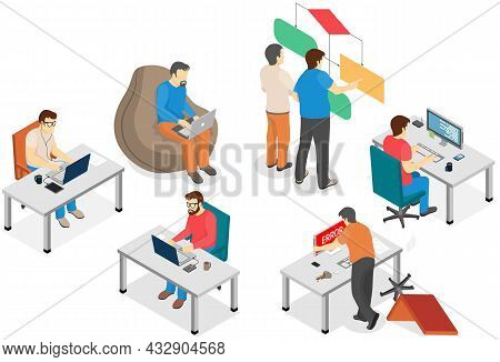 Software Developing Company Team Work Together Coding. Programmers Writing Code. Software Developer