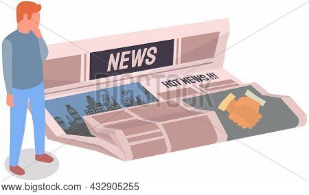 Man Looks At Paper Publication With Fresh News. Publishing Article, Newspaper About Business, City L