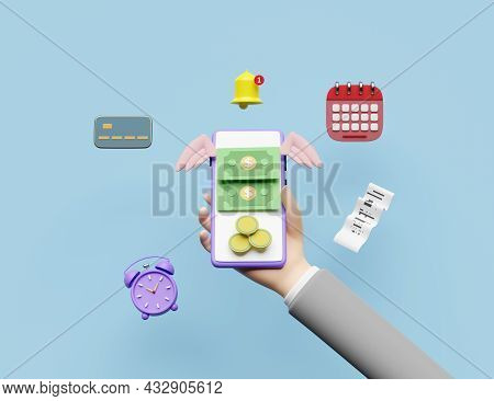 Businessman Hands Holding Mobile Phone,smartphone With Coins,flying Dollar Banknote Wings,calendar,i