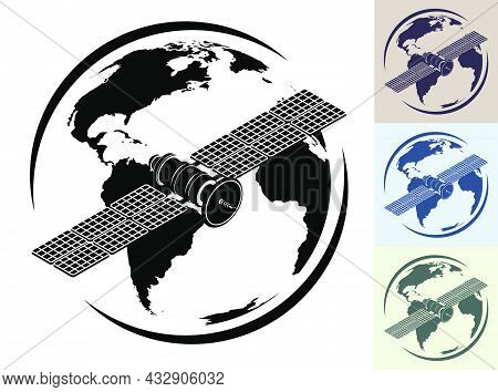 Monochrome Schematic Satellite Fly Orbiting Planet Earth And Transmit Communication Signal. Satellit