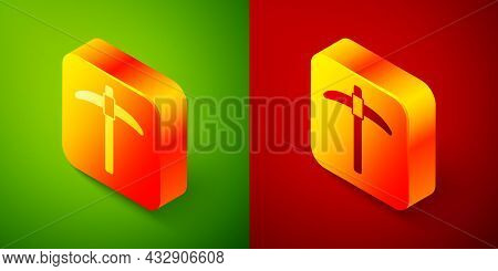 Isometric Pickaxe Icon Isolated On Green And Red Background. Square Button. Vector