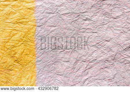 Japanese Abstract Paper Texture.2 Colors Of Beige Pink And Yellow. Close Up.