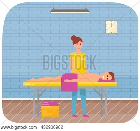Masseur Is Massaging Body Of Patient. Therapist Gives Massage To Young Man Lying On Couch. Girl Touc
