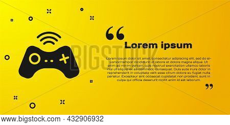 Black Wireless Gamepad Icon Isolated On Yellow Background. Game Controller. Vector