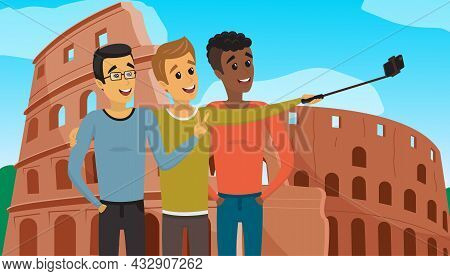 Group Of Male Friends With Smartphone Taking Self Photo With Coliseum In Roma. People Have Trip Arou