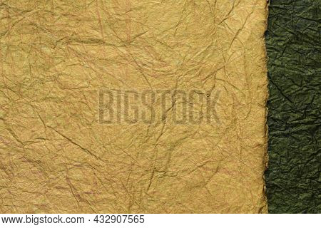 Japanese Abstract Paper Texture. 2 Colors Of Brown With Black. Close Up.