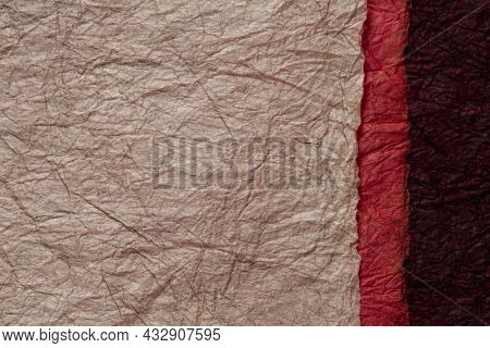 Japanese Abstract Paper Texture.3 Colors Of Dark Brown And Red And Red Black. Close Up.