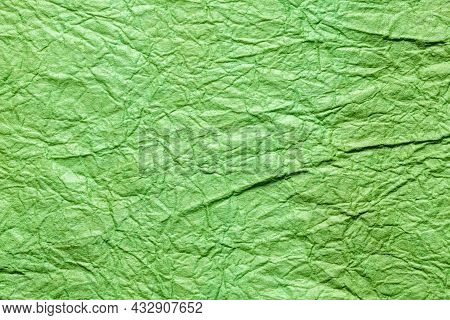Japanese Abstract Paper Texture Green. Close Up.