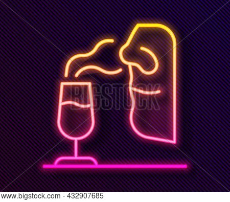 Glowing Neon Line Sommelier Icon Isolated On Black Background. Wine Tasting, Degustation. Smells Of