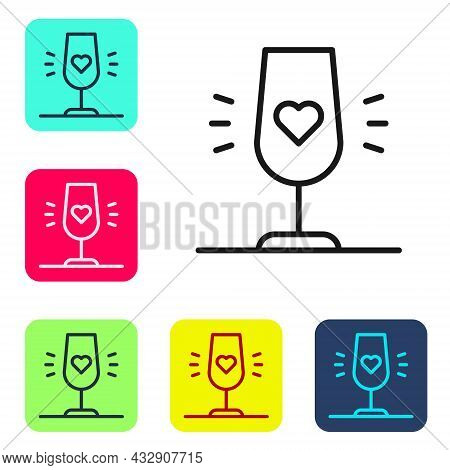 Black Line Wine Glass Icon Isolated On White Background. Wineglass Sign. Favorite Wine. Set Icons In