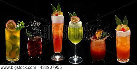 Varied Alcohol cocktails in black ground