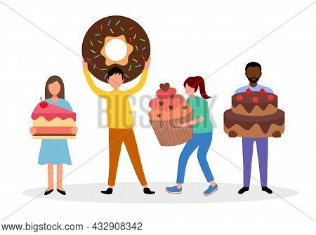 Eating Sweet Food Or Bakery Concept Vector Illustration. People Holding Cake, Doughnut, Cupcake And