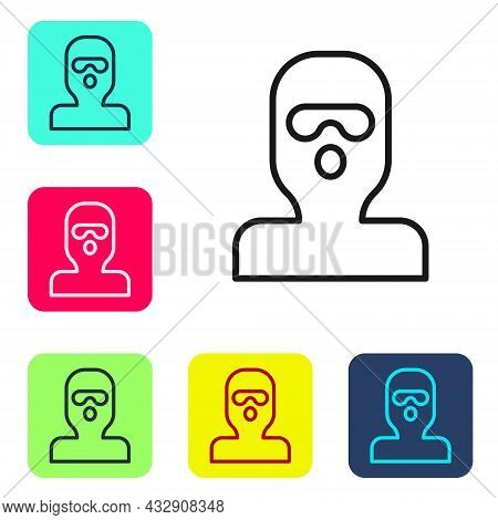 Black Line Thief Mask Icon Isolated On White Background. Bandit Mask, Criminal Man. Set Icons In Col