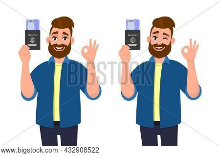 Young Hipster Man Showing Passport With Ticket And Gesturing Okay, Ok Sign. Bearded Person Holding B
