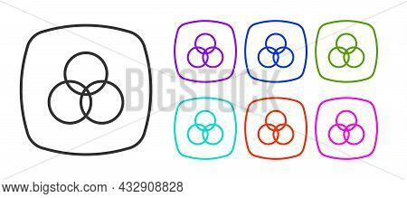 Black Line Rgb And Cmyk Color Mixing Icon Isolated On White Background. Set Icons Colorful. Vector