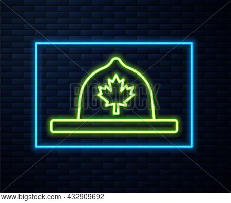 Glowing Neon Line Canadian Ranger Hat Uniform Icon Isolated On Brick Wall Background. Vector