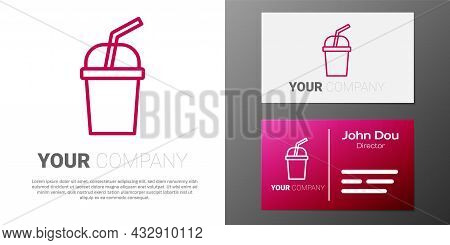 Logotype Line Paper Glass With Drinking Straw And Water Icon Isolated On White Background. Soda Drin