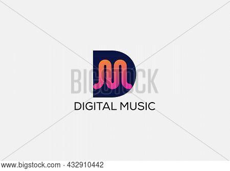 Digital Music Abstract D M Letter Modern Initial Logo Design