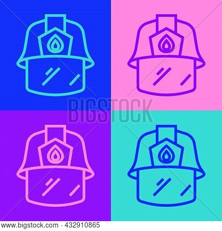 Pop Art Line Firefighter Helmet Or Fireman Hat Icon Isolated On Color Background. Vector