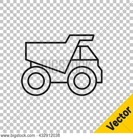 Black Line Mining Dump Truck Icon Isolated On Transparent Background. Vector