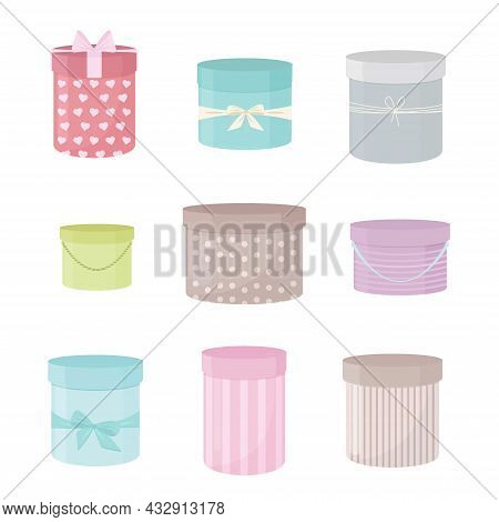 A Hatbox. Vector Isolated Set In Pastel Colors. Decorative Element For Design, Postcards, Holiday Pr