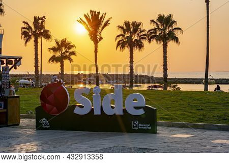 Side, Turkey - September 2021: Inscription