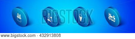 Set Isometric Magician Hat And Rabbit Ears, Ice Cream In Waffle Cone, Toy Train And Striker Attracti