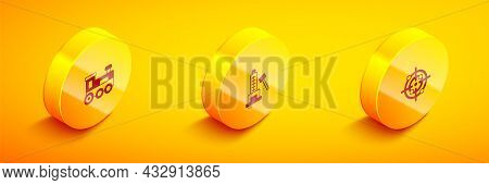 Set Isometric Toy Train, Striker Attraction With Hammer And Target Sport Icon. Vector