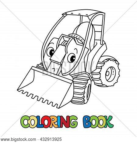 Funny Small Mini Tractor With Eyes. Coloring Book