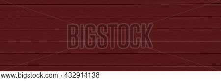 Timber Plank Background Painted In Dark Burgundy Color. Wooden Texture. Natural Banner. Copy Space,