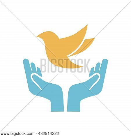 The Concept Of A World Without War Of Hands And Dove. Symbols For The International Day Of Peace. Do