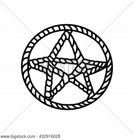 Pentagram Symbol. Magic Pentacle Circle. Mystic And Occult Symbols. Halloween And Esoteric Witchcraf