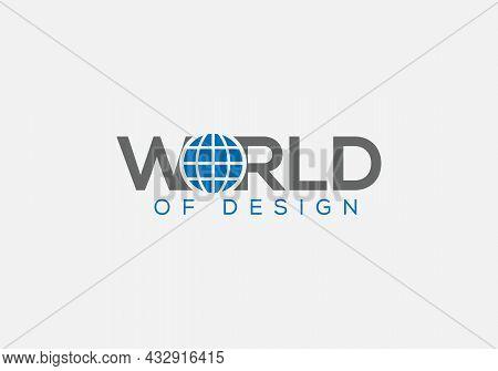 World Minimalist Emblem Wordmark Typography Logo Design Template