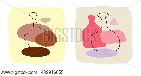 Liquor And Wine Bottle On Abstract Background. Hand Drawn Doodle Various Shapes, Spots. Contemporary