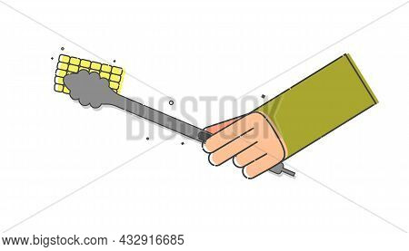 Kitchen Tongs Which Hold A Piece Of Corn In Human Hand. Organic Vegetable For Eating. Flat Illustrat