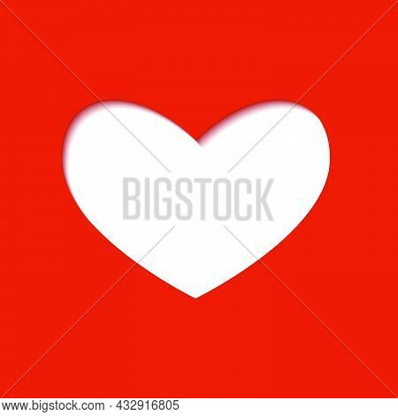 Carved White Heart With An Inner Shadow On Red Background. Modern Illustration. Simple Object In Fla