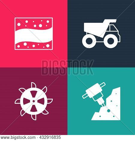 Set Pop Art Construction Jackhammer, Bucket Wheel Excavator, Mining Dump Truck And Gold Mine Icon. V