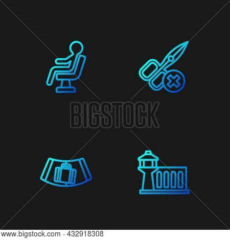 Set Line Airport Control Tower, Conveyor Belt With Suitcase, Human Waiting In Airport Terminal And N